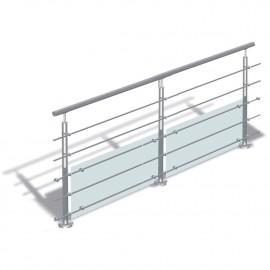 Garde corps inox 2 Mètres - rampe inox - 5 tubes et 2 panneaux