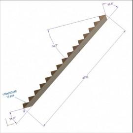Limon 15 marches escalier H 2,5m