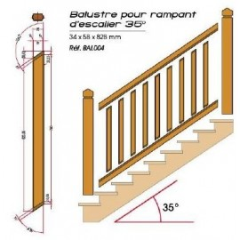 Balustre pour rampant d'escalier pour garde corps bois LOUISIANE