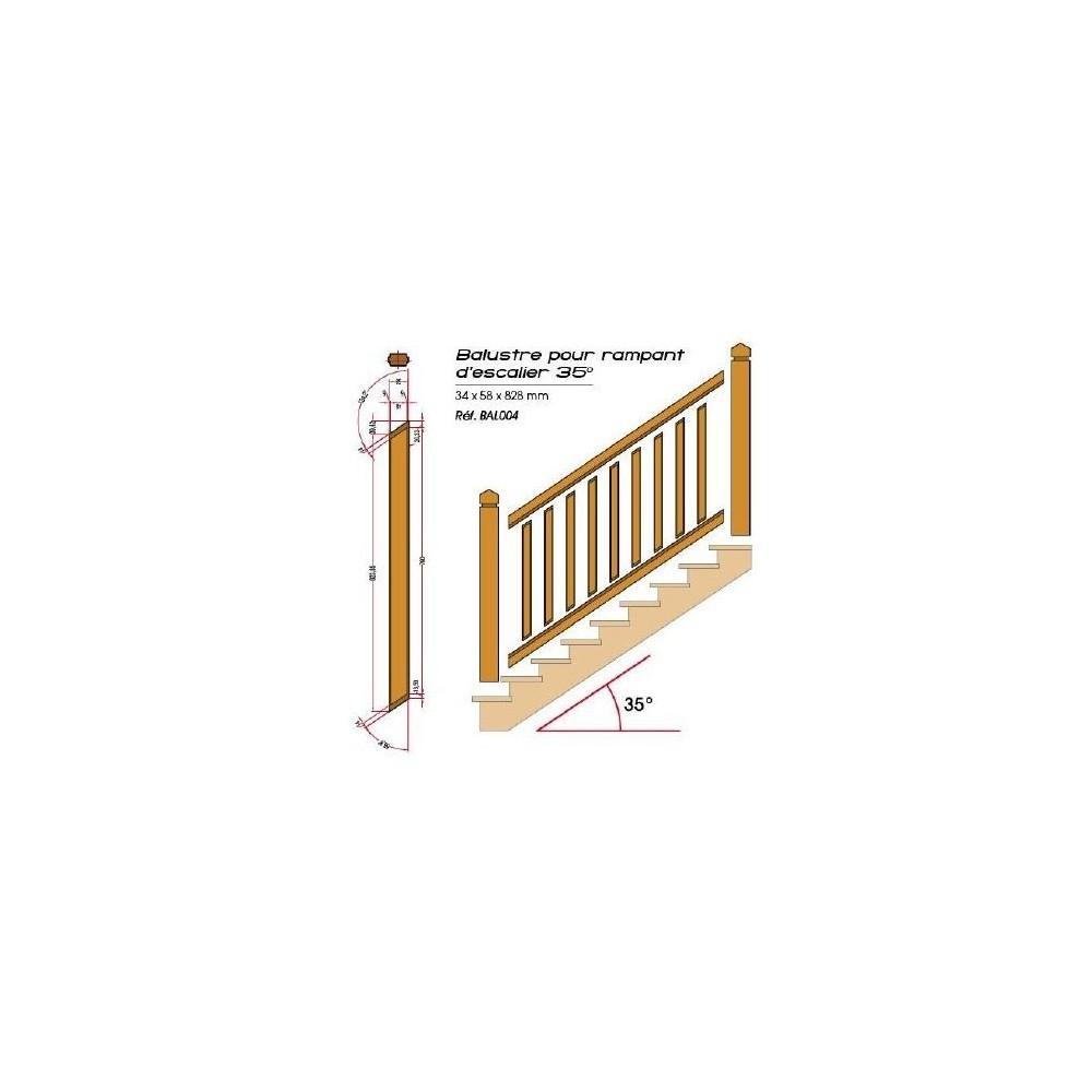 Balustre pour rampant d 39 escalier en pin garde corps en bois deck linea - Balustre bois pour terrasse ...