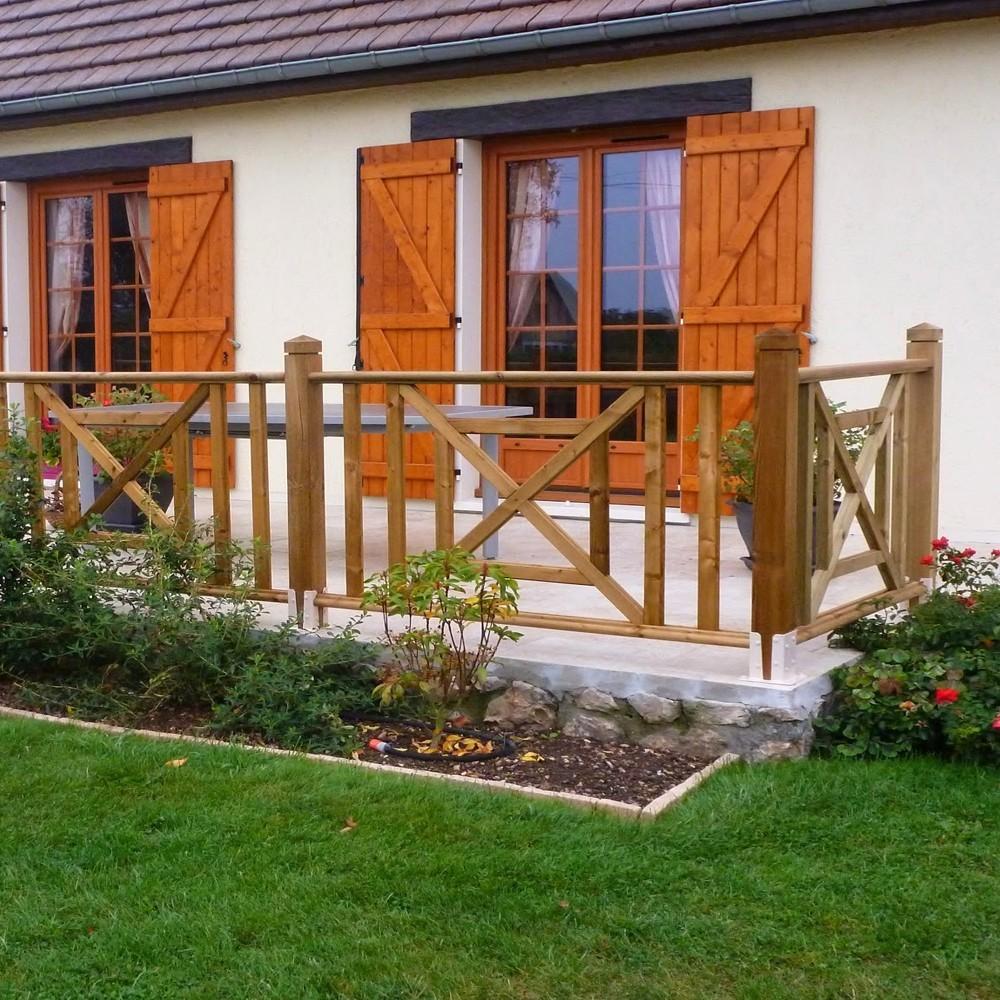 Croix st andr en pin garde corps en bois deck linea for Table pour terrasse pas cher