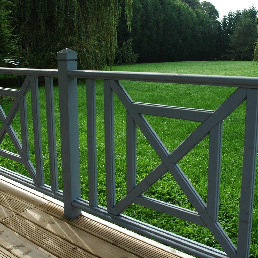Balustre droit en pin garde corps en bois deck linea - Balustre bois pour terrasse ...