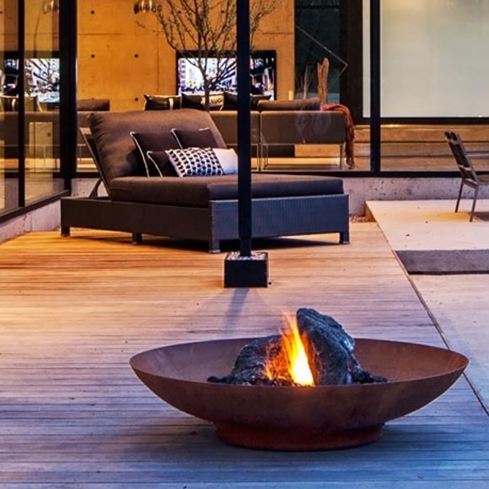 brasero en acier corten deck linea. Black Bedroom Furniture Sets. Home Design Ideas