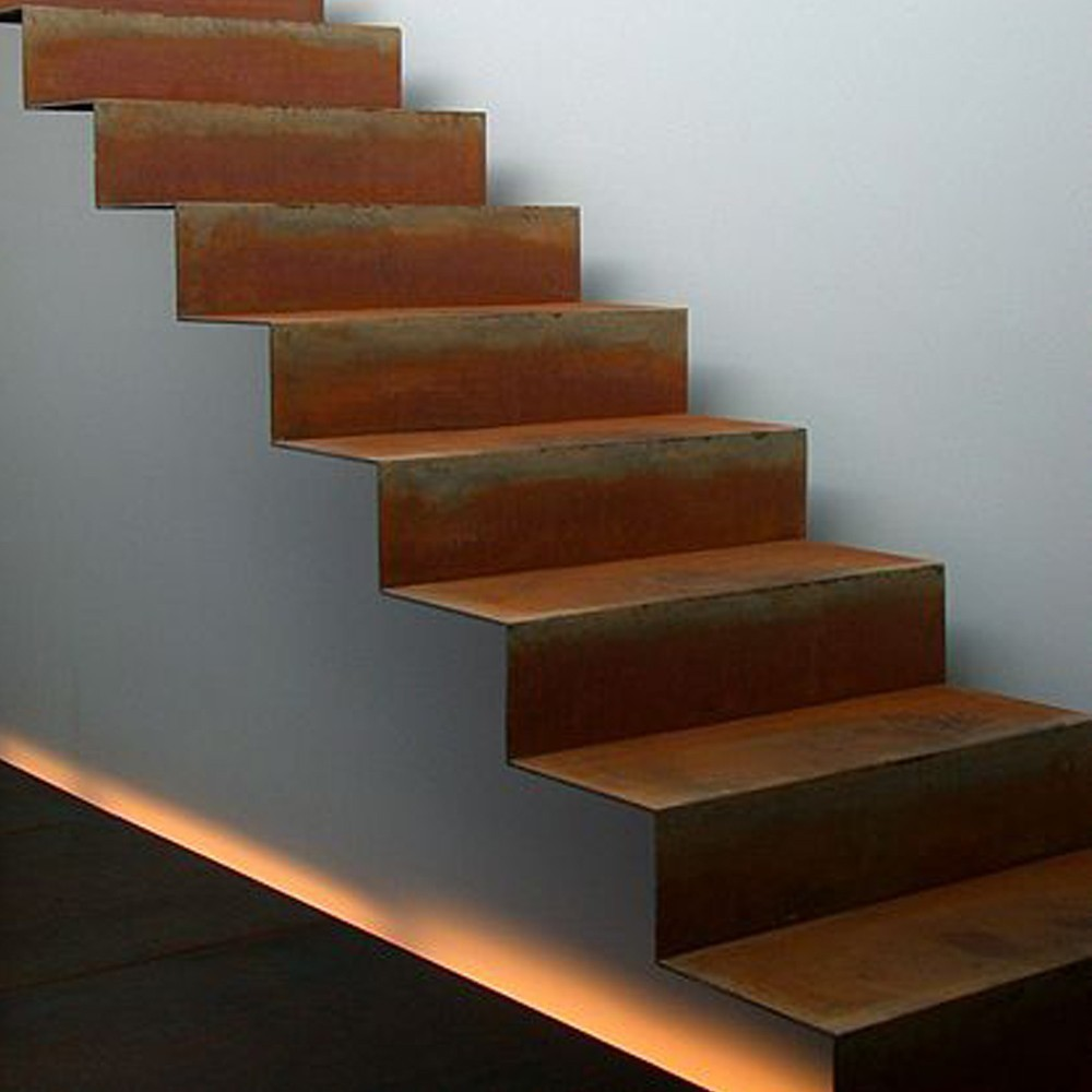 escalier en acier corten pour ext rieur livr en kit deck linea. Black Bedroom Furniture Sets. Home Design Ideas