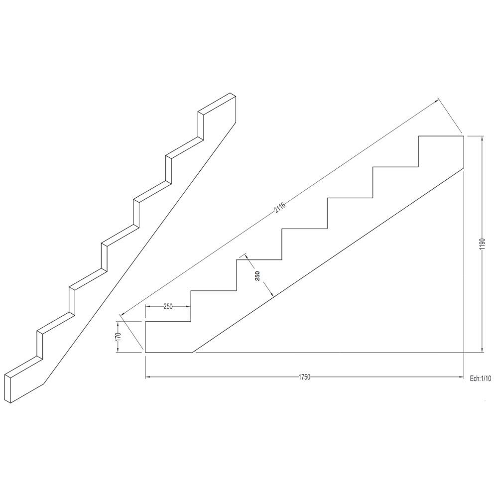 Limon 7 marches escalier pin trait escalier pour l for Plan construire un escalier