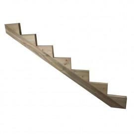 Limon 7 marches escalier pin traité - H 1,19m