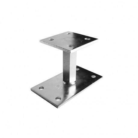 Pied de poteau réglable sur platine en acier galvanisé 90x90mm
