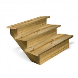 Escalier en bois 3 marches pleines
