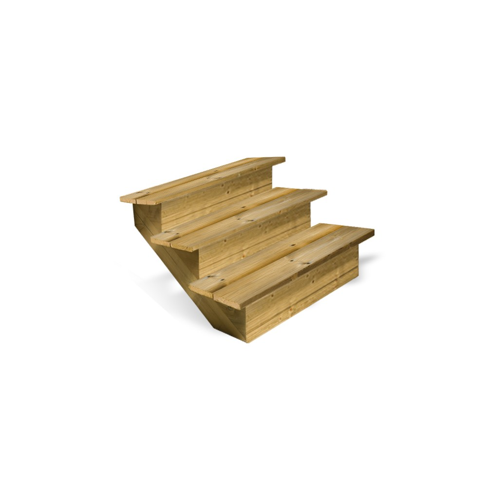 escalier en bois 3 marches pleines deck linea. Black Bedroom Furniture Sets. Home Design Ideas