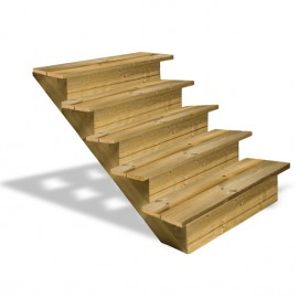 Escalier en bois 5 marches avec contremarches