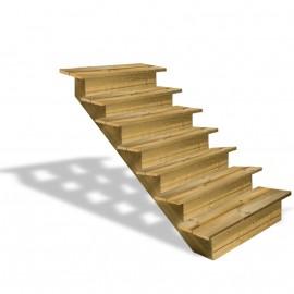 Escalier en bois 7 marches avec contremarches