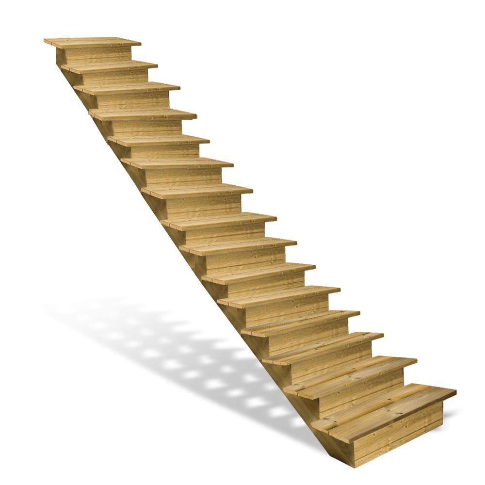 Escalier en bois 15 marches avec contremarches deck linea for Escalier bois 5 marches