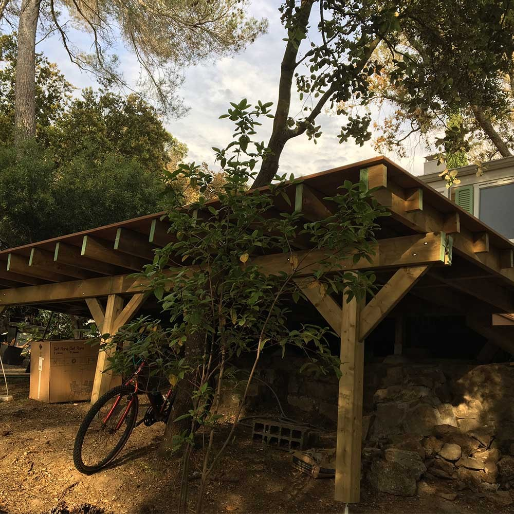 Terrasse Surelevee 25m2 Sur Poteau 120x120mm Deck Linea