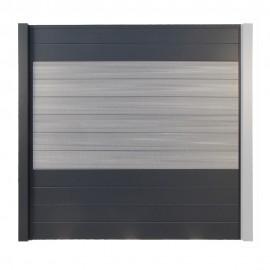 Clôture Composite Opal - Palissade Gris clair et Aluminium