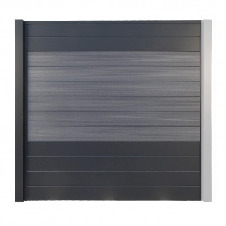 Clôture Composite Opal - Palissade Gris foncé et Aluminium