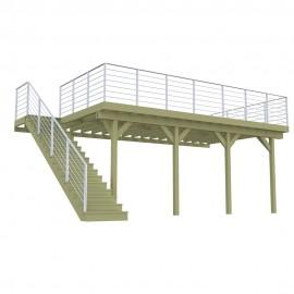Terrasse sur pilotis 3 poteaux 8,4m x 4,2m + Garde-Corps inox