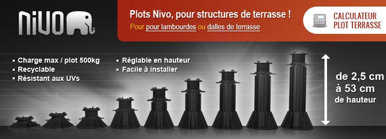 plots nivo pour vos structures de terrasse disponible en plots pour