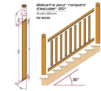 Balustre pour rampant d 39 escalier 35 35x60x800mm decklin a - Comment poser une rampe d escalier ...