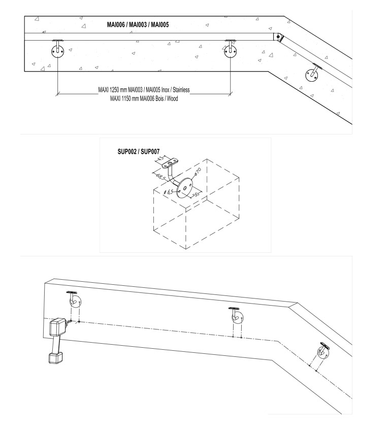 Vente de rampe d 39 escalier en bois et inox pour l 39 int rieur ou l 39 e - Installation de rampe d escalier ...