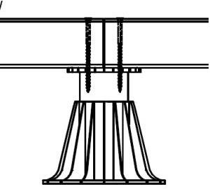 Croquis de fixation des pièces de bois de structure sur les plots avec 2 vis