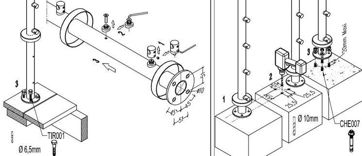 schéma fixation poteau à plat